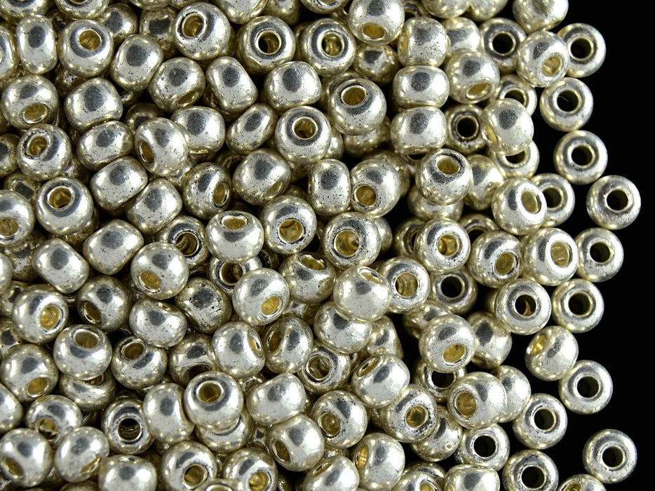 Rocaille Glass Seed Beads Hole Silver 4mm Black 20g 6//0