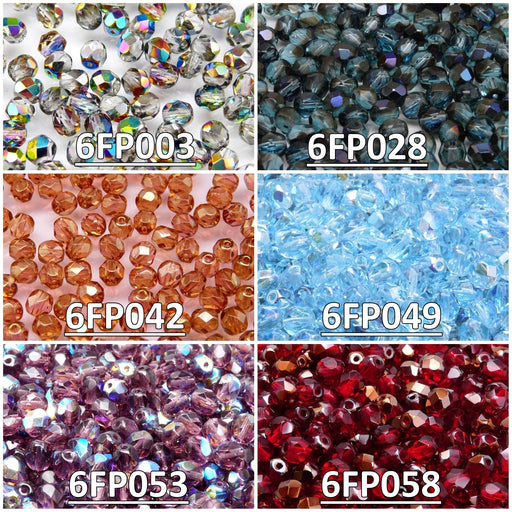 Set of Round Fire Polished Beads, 6mm, 6 colors, Czech Glass