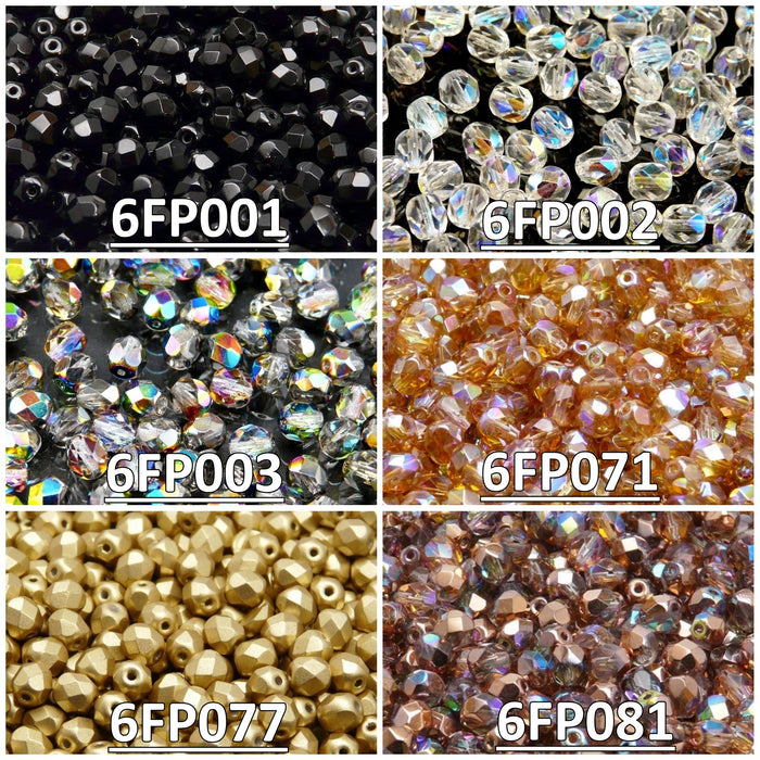 Set of Czech Fire-Polished Glass Beads Round 6mm - 6 colors (6FP001 6FP002 6FP003 6FP071 6FP077 6FP081)