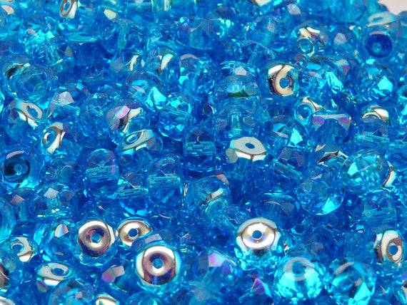 25 pcs Rondelle Fire Polished Beads, 7x4mm, Aquamarine AB, Czech Glass