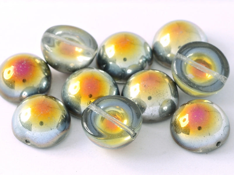 6 pcs Dome Pressed Beads, 12x7mm, Crystal Marea, Czech Glass
