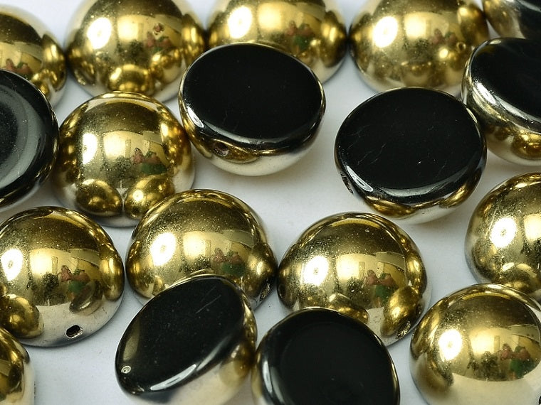 6 pcs Dome Pressed Beads, 12x7mm, Jet Amber, Czech Glass