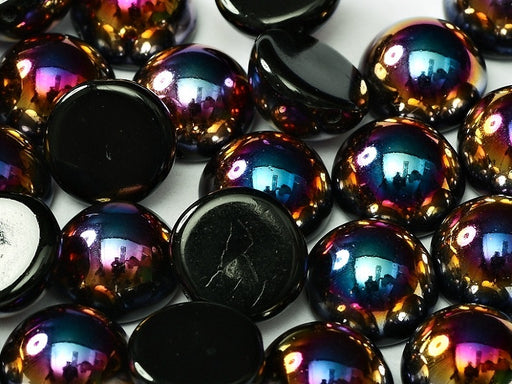 6 pcs Dome Pressed Beads, 12x7mm, Jet Sliperit, Czech Glass