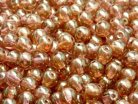 50 pcs Round Pressed Beads, 7mm, Crystal Red Luster, Czech Glass