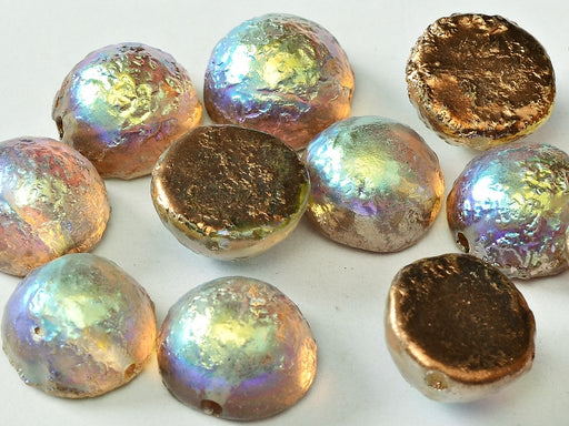 6 pcs Dome Pressed Beads, 12x7mm, Crystal Etched Copper Rainbow, Czech Glass