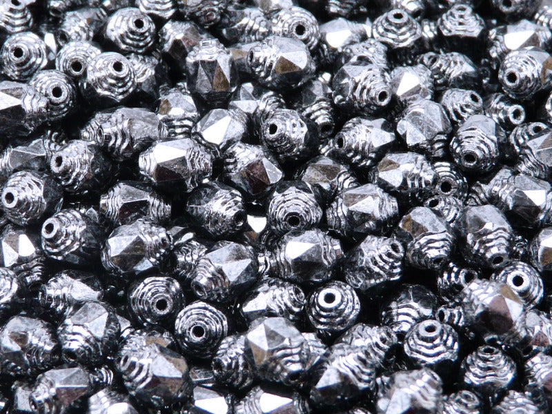 25 pcs Cathedral Fire Polished Faceted Beads, 8x6mm, Jet Full Hematite (Gray), Czech Glass