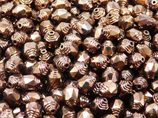 25 pcs Cathedral Fire Polished Faceted Beads, 8x6mm, Jet Full Bronze, Czech Glass