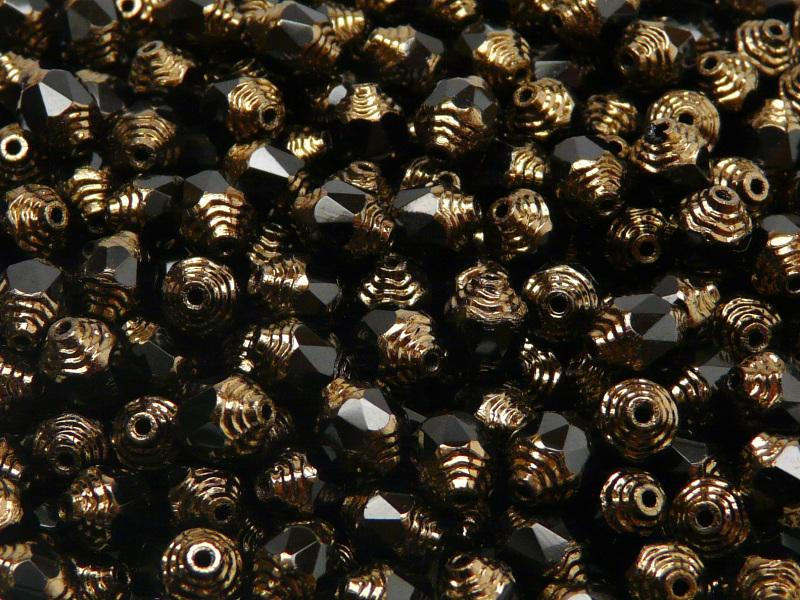 25 pcs Cathedral Fire Polished Faceted Beads, 8x6mm, Jet Black Bronze Ends, Czech Glass