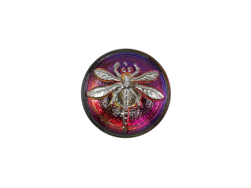 1 pc Czech Glass Button, Crystal Violet/Purple Gold Dragonfly, Hand Painted, Size 8 (18mm)