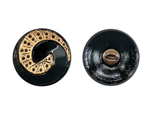 1 pc Czech Glass Buttons Hand Painted, Button Size 8, Jet Black with Gold Spital Dotted Ornament, Concave, Czech Glass
