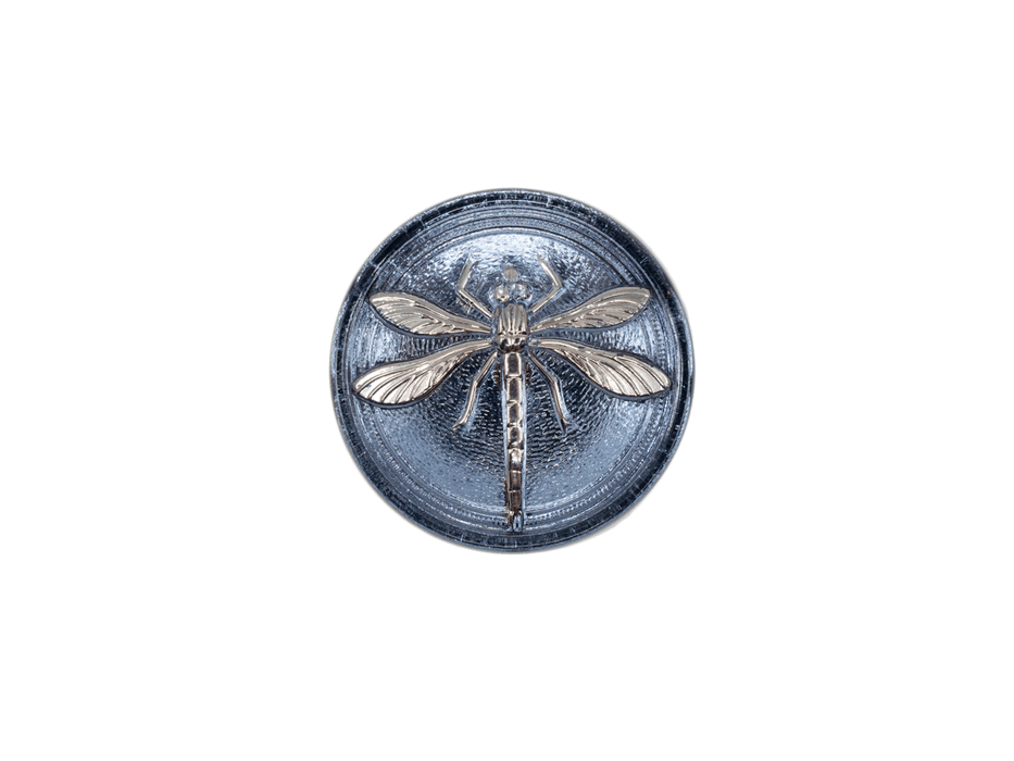 1 pc Czech Glass Cabochon Blue Montana Silver Dragonfly (Smooth Reverse Side), Hand Painted, Size 8 (18mm)