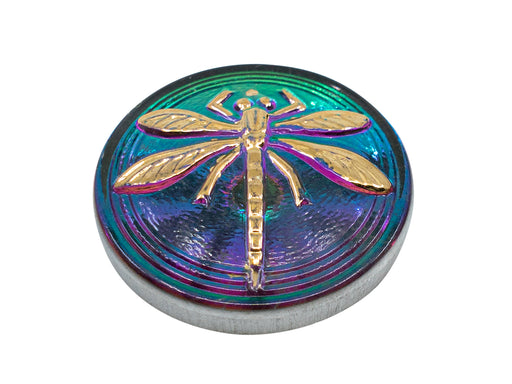 1 pc Czech Glass Cabochon Green Purple Vitrail Gold Dragonfly (Smooth Reverse Side), Hand Painted, Size 8 (18mm)