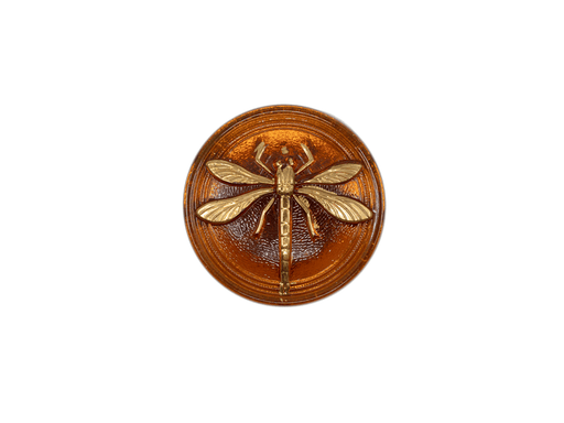 1 pc Czech Glass Cabochon (without Brass Eyelet), Topaz Gold Dragonfly, Hand Painted, Size 8 (18mm)