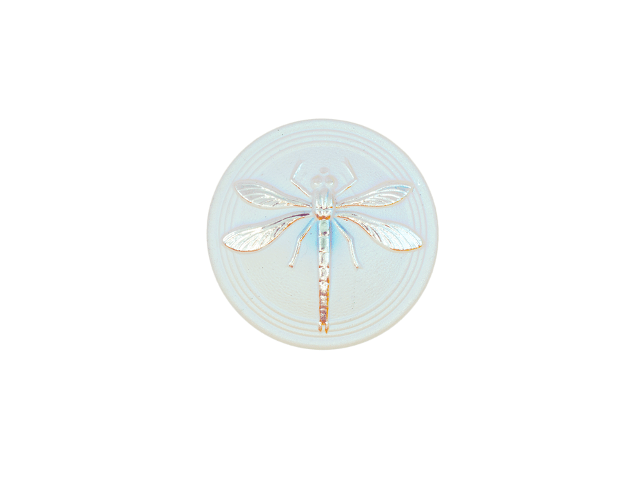 1 pc Czech Glass Cabochon White Matte Silver Dragonfly (Smooth Reverse Side), Hand Painted, Size 8 (18mm)