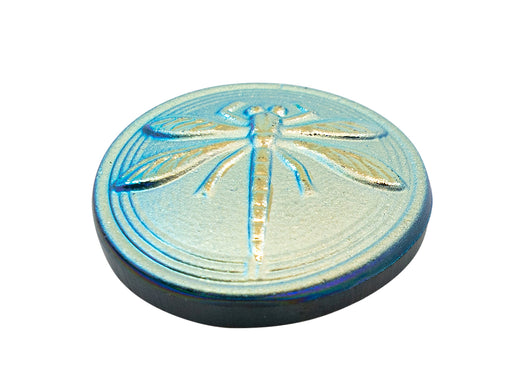 1 pc Czech Glass Cabochon Blue Green Matte Gold Dragonfly (Smooth Reverse Side), Hand Painted, Size 8 (18mm)