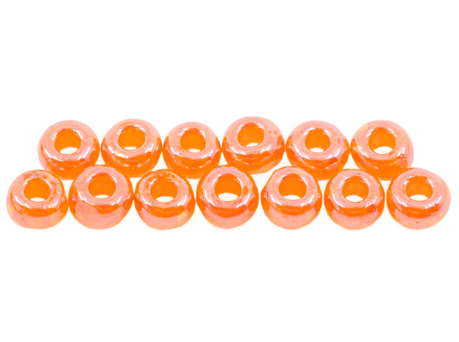 10 g 1-Cut Charlotte Beads Preciosa Ornela 8/0, Red Orange Transparent Luster, Czech Glass