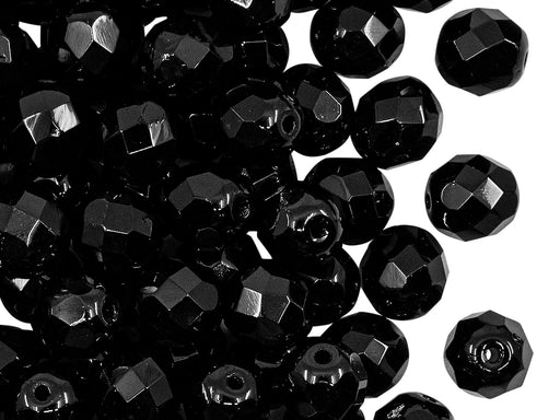 25 pcs Fire Polished Faceted Beads Round, 8mm, Jet Black, Czech Glass