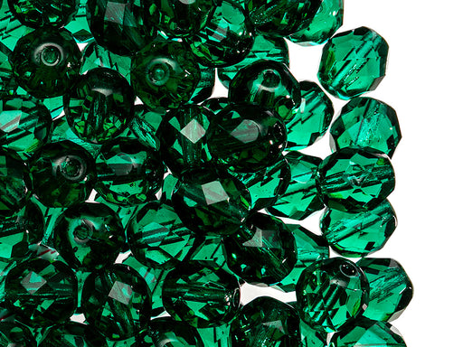 25 pcs Fire Polished Faceted Beads Round, 8mm, Emerald Green, Czech Glass
