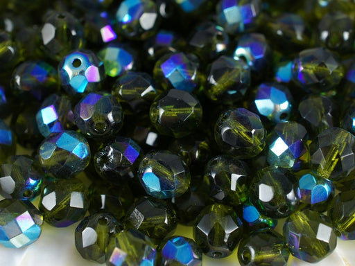 25 pcs Fire Polished Faceted Beads Round, 8mm, Olivine AB, Czech Glass