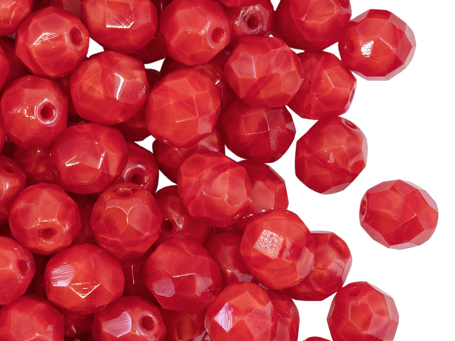 25 pcs Fire Polished Faceted Beads Round, 8mm, Red Moonlight, Czech Glass