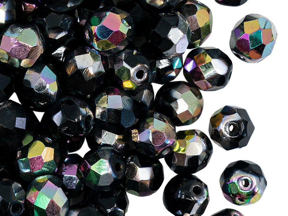 25 pcs Fire Polished Faceted Beads Round, 8mm, Jet Half Vitrail, Czech Glass