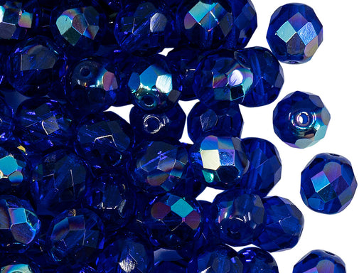 25 pcs Fire Polished Faceted Beads Round, 8mm, Dark Sapphire AB, Czech Glass