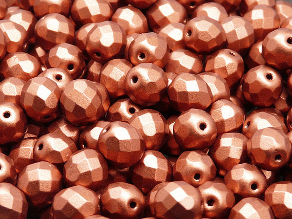 25 pcs Fire Polished Faceted Beads Round, 8mm, Crystal Bronze Fire Red, Czech Glass