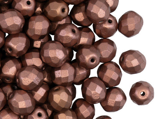 25 pcs Fire Polished Faceted Beads Round, 8mm, Crystal Bronze Copper, Czech Glass