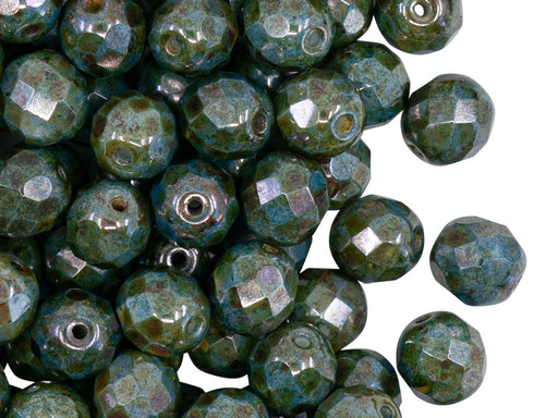25 pcs Fire Polished Faceted Beads Round, 8mm, Chalk White Blue Glaze, Czech Glass