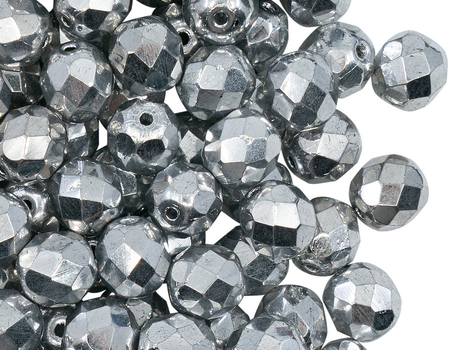 25 pcs Fire Polished Faceted Beads Round, 8mm, Crystal Full Labrador (Silver Metallic), Czech Glass