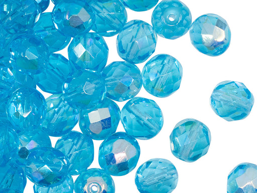 25 pcs Fire Polished Faceted Beads Round, 8mm, Aquamarine AB, Czech Glass