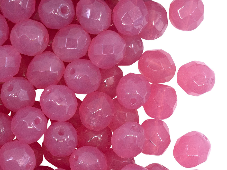 25 pcs Fire Polished Faceted Beads Round, 8mm, Pink Opal, Czech Glass