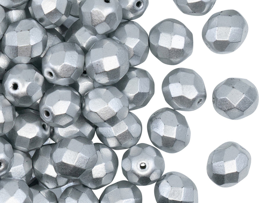 25 pcs Fire Polished Faceted Beads Round, 8mm, Silver Matte (Aluminum), Czech Glass