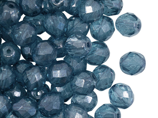 25 pcs Fire Polished Faceted Beads Round, 8mm, Crystal Blue Luster, Czech Glass