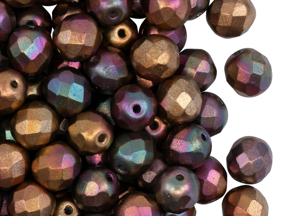 25 pcs Fire Polished Faceted Beads Round, 8mm, Crystal Purple Iris Gold, Czech Glass