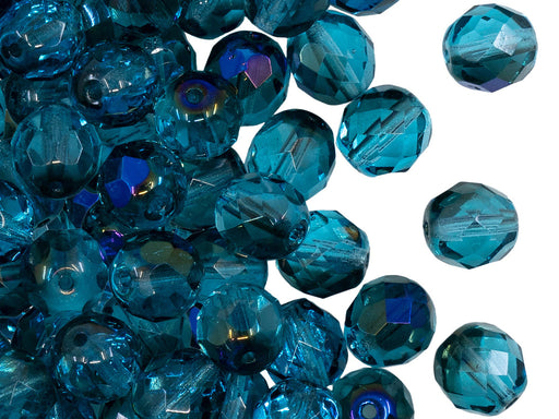 25 pcs Fire Polished Faceted Beads Round, 8mm, Aquamarine Half Azuro, Czech Glass