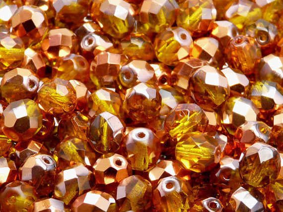 25 pcs Fire Polished Faceted Beads Round, 8mm, Amber Half Sunset, Czech Glass