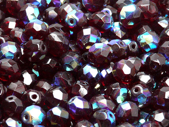 25 pcs Fire Polished Faceted Beads Round, 8mm, Dark Ruby Half AB, Czech Glass