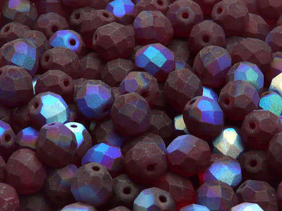 25 pcs Fire Polished Faceted Beads Round, 8mm, Dark Ruby Half AB Matte, Czech Glass