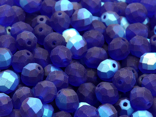 25 pcs Fire Polished Faceted Beads Round, 8mm, Dark Sapphire Half AB Matte, Czech Glass