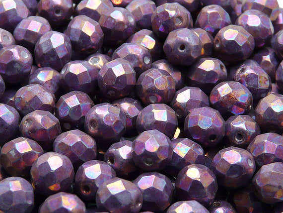 25 pcs Fire Polished Faceted Beads Round, 8mm, Chalk White Half Iris Luster Matte, Czech Glass