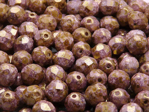 25 pcs Fire Polished Faceted Beads Round, 8mm, Chalk White Violet Senegal Matte, Czech Glass