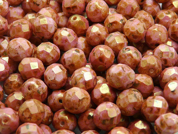 25 pcs Fire Polished Faceted Beads Round, 8mm, Chalk White Red Glaze Matte, Czech Glass