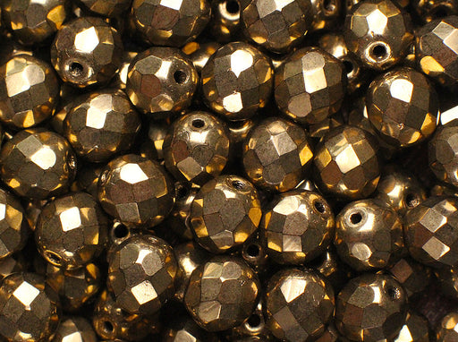 25 pcs Fire-Polished Faceted Beads Round 8mm, Czech Glass, Gold Metallic