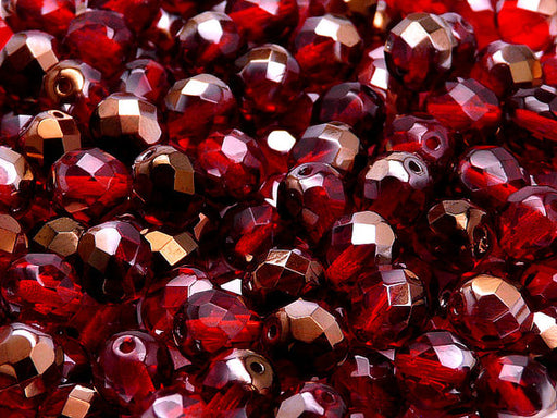 25 pcs Fire Polished Faceted Beads Round, 8mm, Ruby Valentinite, Czech Glass