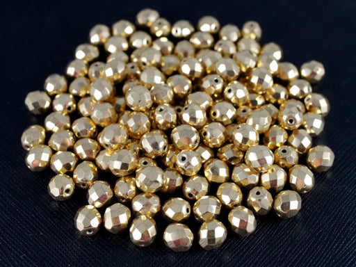 25 pcs Fire Polished Faceted Beads Round, 8mm, Gold Plated, 24 Carat, Czech Glass