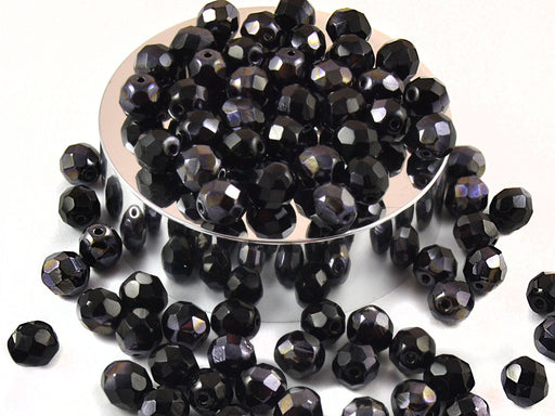 25 pcs Fire Polished Faceted Beads Round, 8mm, Jet Blue Semi Luster, Czech Glass