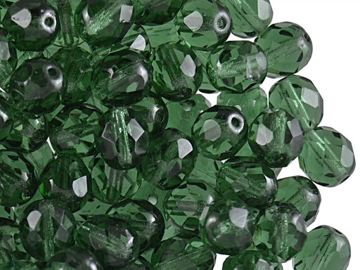 Fire Polished Beads 8 mm Dark Green Transparent Czech Glass Green