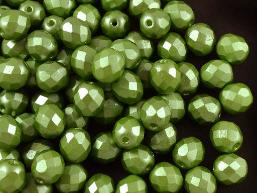 25 pcs Fire Polished Faceted Beads Round, 8mm, Pastel Olivine, Czech Glass