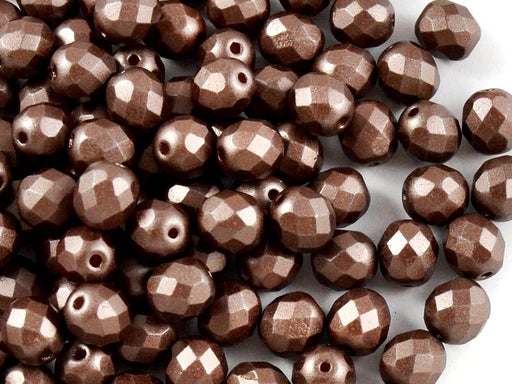 25 pcs Fire Polished Faceted Beads Round, 8mm, Pastel Dark Brown / Bronze, Czech Glass